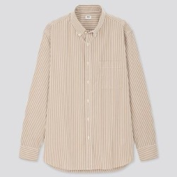 UNIQLO Men's Extra Fine Cotton Broadcloth Long-Sleeve Shirt, Khaki, XS found on Bargain Bro India from Uniqlo for $9.90