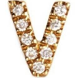 Diamond 18k Yellow Gold Letter Charm – V - Metallic - Loquet London Necklaces found on Bargain Bro from lyst.com for USD $304.00