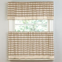 Wide Width Buffalo Check Tier Curtain Set by BrylaneHome in Taupe (Size 58