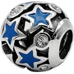 Maya Women's Jewelry Charms Silver+blue - Blue & Sterling Silver Stars Round Charm With Swarovski Crystals found on Bargain Bro Philippines from zulily.com for $19.99