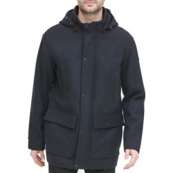 DKNY Mens Coat Navy Blue Size Small S Button Snap Front Zip Hooded (S), Men's(polyester) found on Bargain Bro Philippines from Overstock for $117.97