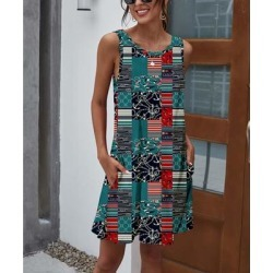 Camisa Women's Casual Dresses Navy - Teal & Red Patchwork Pocket Sleeveless Dress - Women found on Bargain Bro from zulily.com for USD $12.91