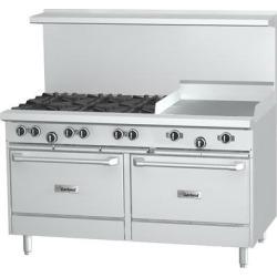 """Garland G60-8G12RS Natural Gas 8 Burner 60"""" Range with 12"""" Griddle, Standard Oven, and Storage Base - 320,000 BTU"""
