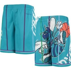 Charlotte Hornets Youth Hardwood Classics Throwback Big Face Mesh Shorts - Teal found on Bargain Bro Philippines from Fanatics for $49.99