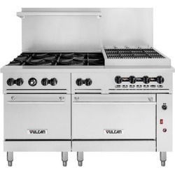 """Vulcan 60SC-6B24CBN Endurance Natural Gas 6 Burner 60"""" Range with 24"""" Charbroiler, 1 Standard, and 1 Convection Oven - 302,000 BTU"""