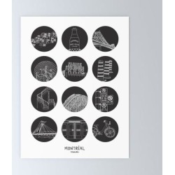 Mini Art Print | Montreal Highlights by Darvee - Without Stand - 3