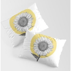Sunflower King Size Pillow Sham by Ginger In Pajamas - STANDARD SET OF 2 - Cotton