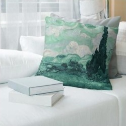 Porch & Den Vincent Van Gogh 'Wheatfield with Cypresses' Throw Pillow (14 x 14 - Green - Synthetic Fiber) found on Bargain Bro from Overstock for USD $37.23