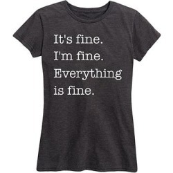 Instant Message Women's Women's Tee Shirts HEATHER - Heather Charcoal 'Everything Is Fine' Relaxed-Fit Tee - Women & Plus found on Bargain Bro India from zulily.com for $14.99