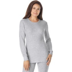 Plus Size Women's Thermal Long Sleeve Tee by Comfort Choice in Heather Grey (Size 1X) found on Bargain Bro Philippines from Ellos for $14.99