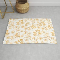 Aesthetic And Simple Bees Pattern Modern Throw Rug by Magicalwalrus - 2' x 3'
