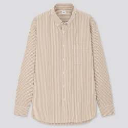 UNIQLO Men's Extra Fine Cotton Broadcloth Long-Sleeve Shirt, Khaki, L found on Bargain Bro India from Uniqlo for $29.90