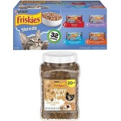Friskies Shreds Canned Food + Party Mix Gravylicious Chicken & Gravy Flavors Cat Treats found on Bargain Bro from Chewy.com for USD $17.84