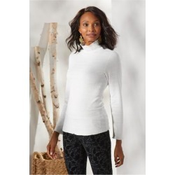 Women's Margherita Turtleneck Top by Soft Surroundings, in Ecru size XS (2-4)