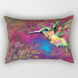 "Hummingbird In The Garden Rectangular Pillow by Susana Guaderrama - Small (17"" x 12"")"