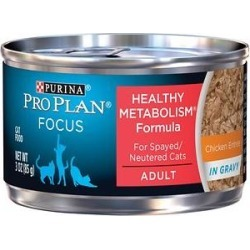 Purina Pro Plan Focus Healthy Metabolism Formula Chicken in Gravy Adult Canned Cat Food, 3-oz, 24 ct