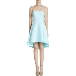 Halston Heritage Women's Strapless Fit And Flare High-Low Mini Dress - Blue (2)(cotton, solid) found on MODAPINS from Overstock for USD $50.99