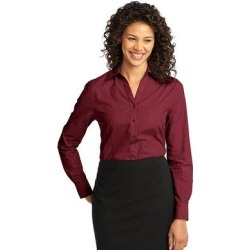 Port Authority L640 Women's Crosshatch Easy Care Shirt in Red Oxide size 4XL   Cotton/Polyester Blend found on Bargain Bro from ShirtSpace for USD $26.20