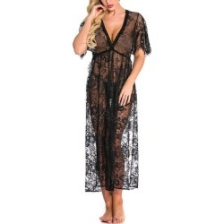 KISS ME ANGEL Women's Babydolls Black - Black Lace Maxi Babydoll found on Bargain Bro India from zulily.com for $16.99