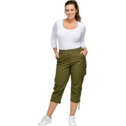Plus Size Women's Stretch Cargo Capris by ellos in Dark Basil (Size 34) found on Bargain Bro Philippines from Roamans.com for $37.90