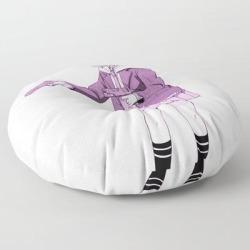 "Gun Girl Pink - Sad Japanese Anime Aesthetic Floor Pillow by Poser_boy - ROUND - 30"" x 30"""