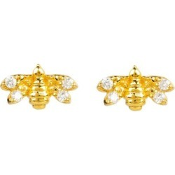 Diamond Mini Bee Stud Earrings Gold - Metallic - Latelita London Earrings found on Bargain Bro from lyst.com for USD $121.60