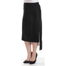 DKNY Womens Black Tea Length Hi-Lo Skirt Size: XS (Black - XS), Women's(knit, check) found on Bargain Bro from Overstock for USD $42.54