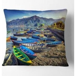 Designart 'Colorful Boats in Pokhara Lake' Boat Throw Pillow (Square - 18 in. x 18 in. - Medium), Multicolor, DESIGN ART(Polyester, Graphic Print) found on Bargain Bro from Overstock for USD $23.55