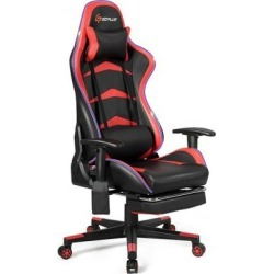 Costway Massage LED Gaming Chair with Lumbar Support & Footrest-Red found on Bargain Bro from Costway for USD $151.96