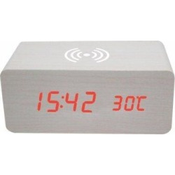 Latitude Run® White Wooden Alarm Clock w/ Wireless Charging Function Red Digital Show Clock in Red/Gray, Size 6.3 H x 2.8 W x 2.8 D in   Wayfair found on Bargain Bro Philippines from Wayfair for $38.99