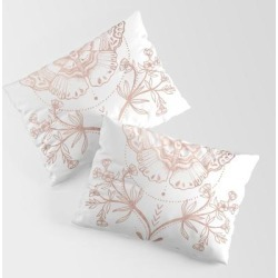 King Size Pillow Sham | Magical Moth In Rose Gold by Mermaid & Unicorn - STANDARD SET OF 2 - Cotton - Society6 found on Bargain Bro from Society6 for USD $30.39