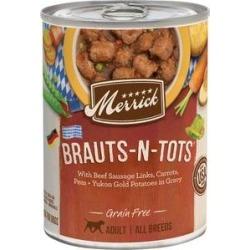 Merrick Grain Free Wet Dog Food Brauts-n-Tots, 12.7-oz can, case of 12