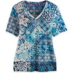 Women's Plus Short-Sleeve Sublimation Print Tee, Blue 2XL found on Bargain Bro from Blair.com for USD $28.11