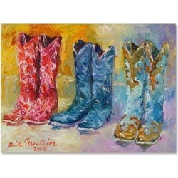 Millwood Pines 'Cowboy Boots' Print on Canvas Canvas & Fabric in Blue/Brown/Indigo, Size 14.0 H x 19.0 W x 2.0 D in   Wayfair found on Bargain Bro Philippines from Wayfair for $45.99
