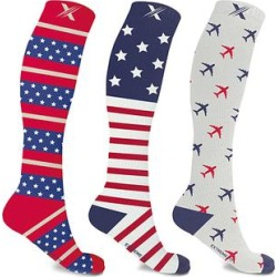 XTF by Extreme Fit Women's Compression Socks undefined - Red & Blue Logo Three-Pair 10-20 mmHg Compression Socks Set found on Bargain Bro India from zulily.com for $16.99