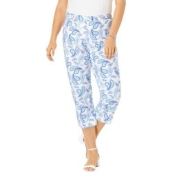 Plus Size Women's Stretch Poplin Straight-Leg Crop Pant by Jessica London in Blue Sketch Paisley (Size 12) found on Bargain Bro Philippines from Ellos for $17.98