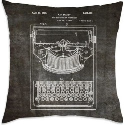 Oliver Gal 'Brandt, Type Bak Guide For Typewriters, 1926'DecorativeThrow Pillow, Black, Oliver Gal Artist Co.(Microfiber, Graphic Print) found on Bargain Bro from Overstock for USD $36.17