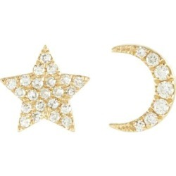 Diamond 14k Yellow Gold Star Moon Stud Earrings - Metallic - EF Collection Earrings found on Bargain Bro from lyst.com for USD $497.80