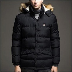 Man Middle Long Cotton Coat Hoodied Warm Black M found on Bargain Bro from Overstock for USD $54.45