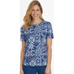 Women's Plus Short-Sleeve Parfait Tee Shirt, Royal Print Blue 2XL found on Bargain Bro from Blair.com for USD $11.39