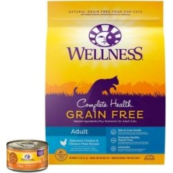Wellness Complete Health Pate Chicken Entree Grain-Free Canned Cat Food, 3-oz, case of 24 + Wellness Complete Health Natural Grain Free Deboned Chicken & Chicken Meal Dry Cat Food, 11.5-lb bag