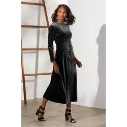 Women Lisabetta Velvet Dress by Soft Surroundings, in Black size 1X (18-20)