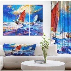 Designart 'Salship At Ocean Waves' Nautical Print on Wrapped Canvas set - 36x28 - 3 Panels found on Bargain Bro Philippines from Overstock for $97.49