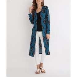 Beyond This Plane Women's Open Cardigans Teal - Teal & Navy Damask Midi Button-Front Cardigan - Women & Plus found on Bargain Bro India from zulily.com for $12.99