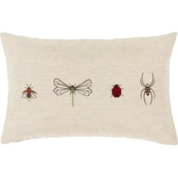 Porch & Den Vicki Linen Blend Bug Embroidered Lumbar Pillow found on Bargain Bro from Overstock for USD $21.65