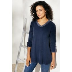 Women's Inkwell Pullover Top by Soft Surroundings, in Nautical Navy size XS (2-4)