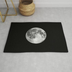 Modern Throw Rug | Full Moon Print Black-white Photograph New Lunar Eclipse Poster Bedroom Home Wall Decor by The Motivated Type - 2' x 3' - Society6 found on Bargain Bro India from Society6 for $34.30