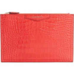 Medium Antigona Croc Embossed Leather Pouch - Red - Givenchy Clutches found on Bargain Bro from lyst.com for USD $467.40