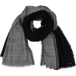 Plaid & Solid Wool Blend Fringe Scarf - Black - AllSaints Scarves found on Bargain Bro from lyst.com for USD $82.08