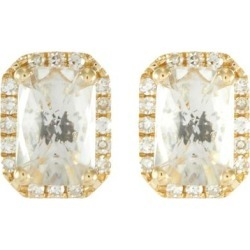 Diamond Topaz 14k Yellow Gold Stud Earrings - Metallic - EF Collection Earrings found on Bargain Bro from lyst.com for USD $634.60